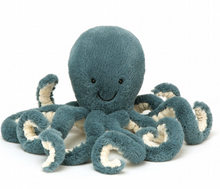 Load image into Gallery viewer, Storm Octopus is a bubbly sort, and you would be too, with eight amazing tentacles! Squishy and cheery in terrific teal, this softy is scrummy to curl up with. Shake hands and feel the scruffled cream fur beneath, then let go and pyoinggg - there's a sprin