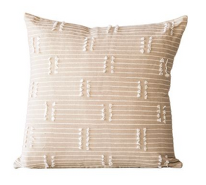 Taupe Woven Cotton Tassle Pillow