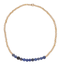 Load image into Gallery viewer, This Deep Blue Sodalite Gold Bliss Bead Bracelet adds a pop of color to any stack!