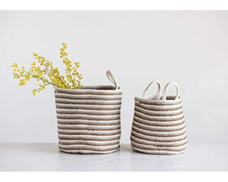 Braided Beige & Gold Striped Baskets