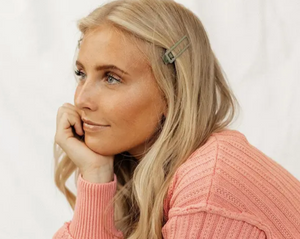 Sage Green Lu Lu Barrette on blonde woman in peach sweater