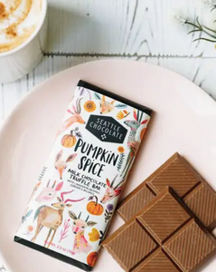 Dip into Fall with this milk chocolate truffle bar spiced with cinnamon, nutmeg, ginger and all spice!