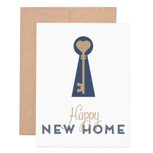 "Buying a new home is a very special occasion! Congratulate your friends on their home owning adventure with this greeting card. The letterpress design on this card features the message, ""Happy new home."""
