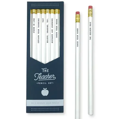 The foil messages on our Teacher Pencil Set are sure to show your favorite teacher just how much you appreciate them. This pencil set comes in a hand die-cut box perfect for gifting. Pencil phrases include: Raise Your Hand, Stand in Line, Explain Your Thinking, TGIF, Believe. Imagine. Try., Mistakes are Learning, Show Your Work, and The Golden Rule.