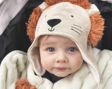 Load image into Gallery viewer, Lion Aviator Knit Baby Hat