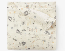 Load image into Gallery viewer, Safari Print Organic Muslin Baby Blanket With Fur Back