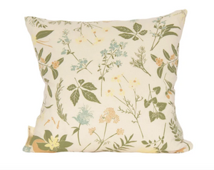 Herbal Tea Garden Pillow with Faux Down Insert