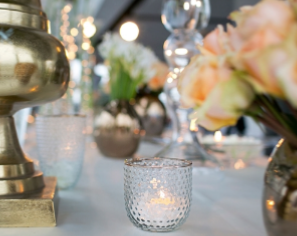 Mady Votives hobnail texture with a gold rimmed top, make it a simple and classic look for any table or mantle.