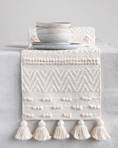 "72""L x 14""W Woven Cotton Textured Table Runner w/ Pom Poms & Tassels, Cream Color"
