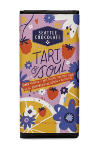 Seattle Chocolate Tart and Soul Bar colorful floral and raspberry label