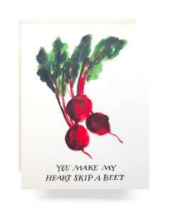 """You make my heart skip a beet"" card, featuring water-colored beet bunch."