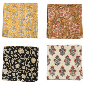 set of 4 cotton napkins, One Yellow with white flowers, One Brown with Coral flowers, Black with creamy flowers, cream with coral flowers