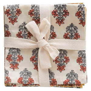 Set of 4 cotton napkins tied with cotton bow