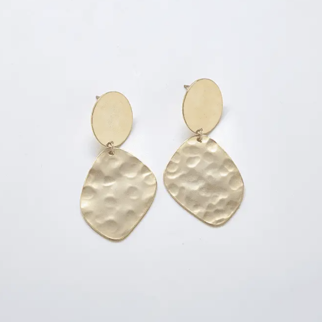 Gold Hammered Oval Drop Earrings