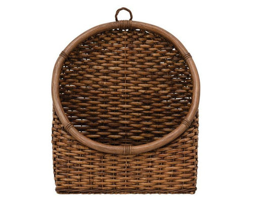 Hand-Woven Rattan Wall Basket can be styled with plants or used as convenient wall storage for an entryway, mudroom, laundry room, and mor