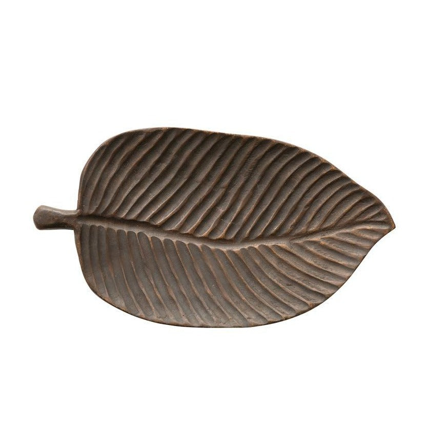 Decorative Hand Carved Wooden Leaf Tray Top View