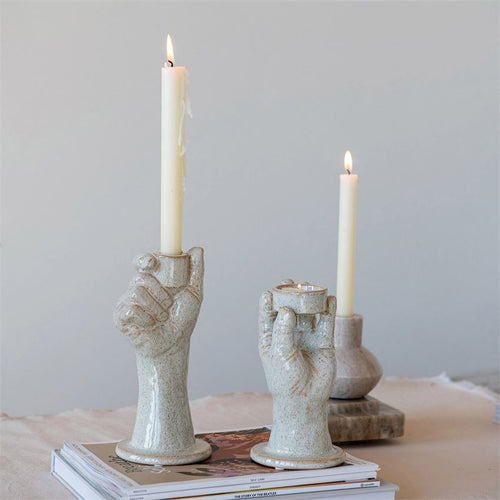 Stone Hand Tealight  and Taper Holder