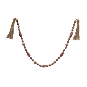 Paulownia Wood Bead Garland with Tassels in Rose
