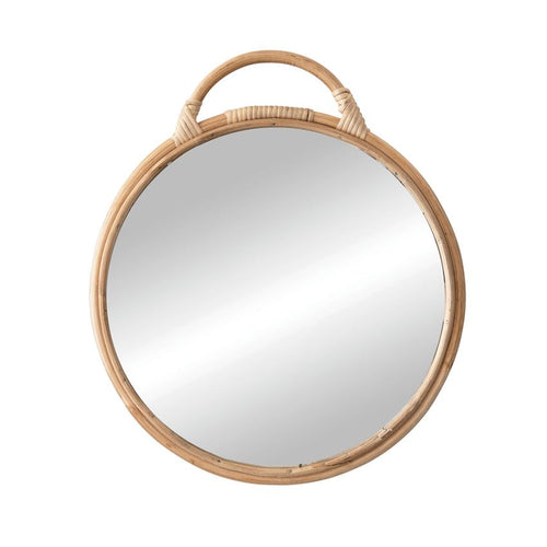 Round Mirror with Rattan Frame