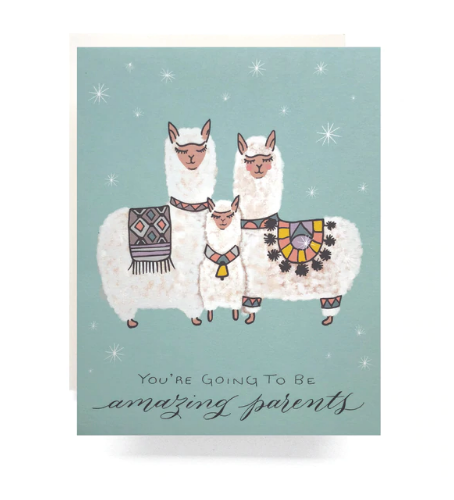 This card featuring featuring an adorable Alpaca family is a perfect way to congratulate parents to be!