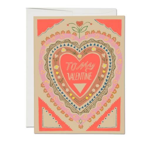 Simply Stated, To my Valentine Blank Card in Neon by Red Cap Cards
