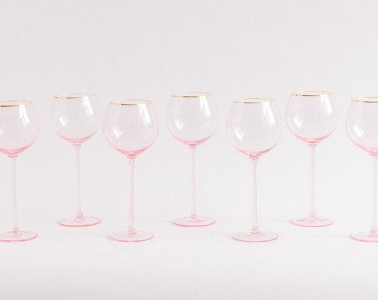 Pink Perfection. These  Rosewater + Gold White Wine Goblets  will certainly make you smile & enjoy the beverage of your choice in these sleek stemmed glasses.