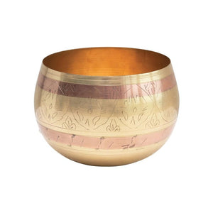 Engraved Brass and Copper Round Pot
