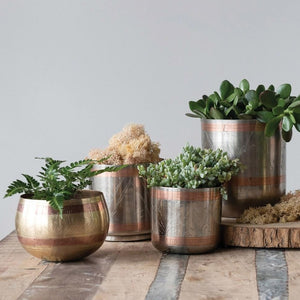 Engraved Brass and Copper Round Pot with taller similar planters