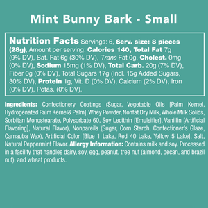 Candy Club Mint Bunny Bark Nutrition Label