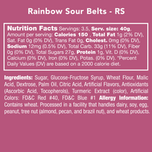 Load image into Gallery viewer, Candy Club Rainbow Sour Belts Nutrition Label