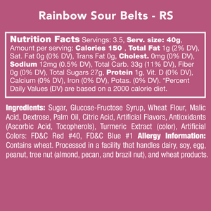 Candy Club Rainbow Sour Belts Nutrition Label