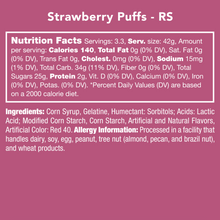 Load image into Gallery viewer, Candy Club Strawberry Puffs Nutrition Label