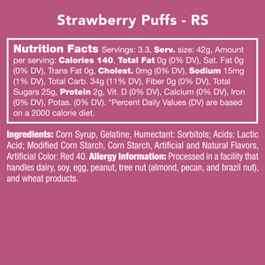 Candy Club Strawberry Puffs Nutrition Label