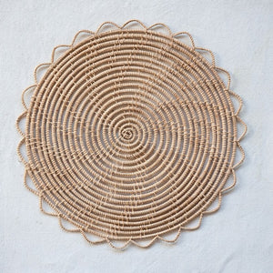 "13"" Round Natural Woven Palm Placemat"