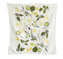 Load image into Gallery viewer, his towel is scattered with herbs used in cocktail favorites like, basil, mint, cinnamon, lemon verbena, and kaffir limes to name a few. Makes a great gift for your favorite mixer!