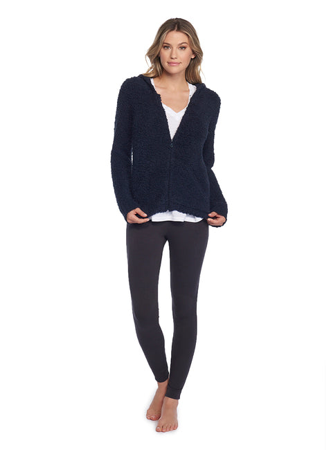 Everyone loves a hoodie and this one gets special attention with Barefoot Dreams super soft heathered knit. Features include front pockets, ribbed cuffs and ultra cozy hood.