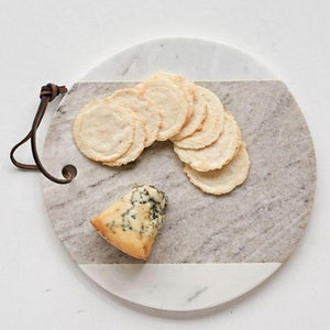 Round Grey & White Marble Cheese Board
