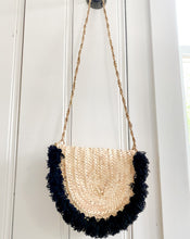 Load image into Gallery viewer, Handwoven Wicker Crossbody Handbag with Black Poms