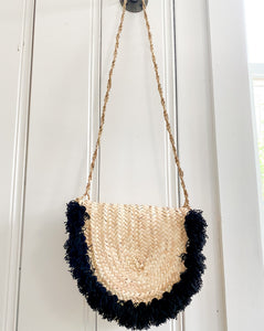 Handwoven Wicker Crossbody Handbag with Black Poms
