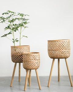 Woven Bamboo Basket Stands