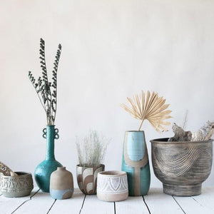 Various Hand-Painted and debossed Terra-cotta Pots with dried florals