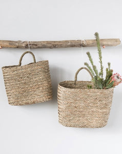 Woven Seagrass Wall Baskets with Handles