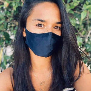 Silk Face Mask in Navy on Woman