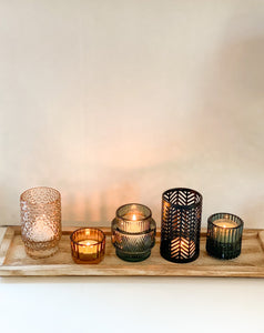 Embossed Glass & Metal Tealight holders with Wood Tray