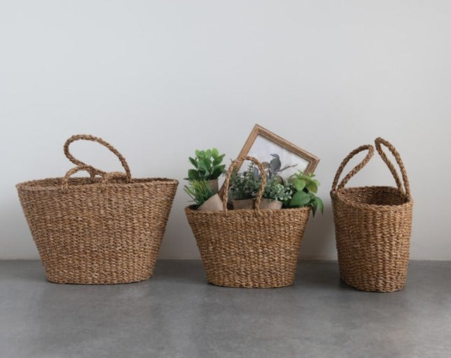 These beautiful hand-woven seagrass totes are functional, but also beautiful! A perfect addition to any home or stuff with goodies for an awesome gift!