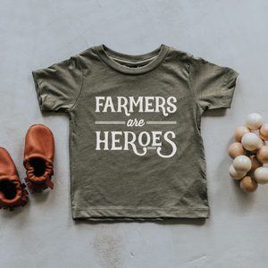 Farmers Are Heros Kids T-Shirt in Olive Green