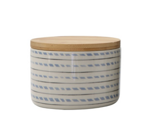 Stoneware Canister With Bamboo Lid