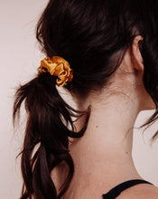 Load image into Gallery viewer, Marigold Silk Mini Scrunchie in dark hair ponytail