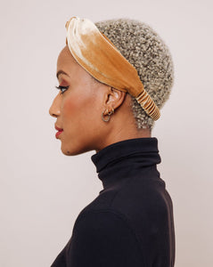 Harvest Moon Velvet Headwrap on woman in black turtleneck