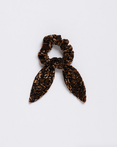 Wild Thing Scrunchie Tie in Velvet Burnout Leopard Floral
